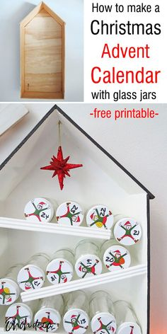 Make a fun Elves Christmas calendar reusing glass jars. It's simple to  make with the free printable. Grab it on the blog and start making your  DIY advent calendar. It's an easy Christmas craft idea that's perfect to  make with the kids. #Christmas #diy #paper #free Easy Christmas Crafts, Simple Christmas, Kids Christmas, Cool Advent Calendars, Diy Advent Calendar, Do It Yourself Projects, Cool Diy Projects, Baby Jars, Diy Home Accessories