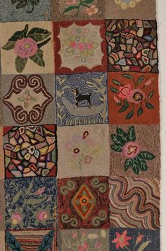 Large Patchwork Pattern Wool Hooked Rug - Current price: $400