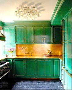Luxury Emerald Green Kitchen Cabinets
