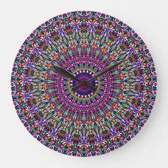 Shop Vivid Lace Ornament Mandala Large Clock created by ZyddArt. Large Clock, Wall Clocks, Wall Design, Mandala, Wall Decor, Ornaments, Lace, Room, Wall Hanging Decor