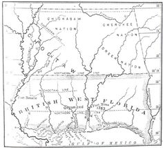 """(Image:  British West Florida and Indian Nations. Courtesy of Mississippi Department of Archives and History)  """"Mississippi Under British rule - British West Florida"""" by Robert V. Haynes.  """"As a result of the Treaty of Paris of 1763, following the French and Indian War (1754-1763), England acquired Spanish Florida and French Canada. The British divided Florida into two provinces or colonies, West and East Florida. West Florida included the southern half of present-day Mississippi."""""""