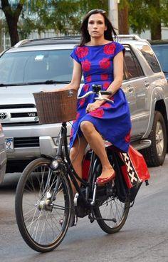 Former model Famke Janssen took to her bike in New York #celebrities #cycling