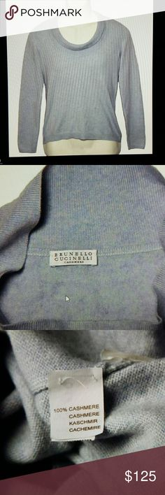 Womens Brunello Cucinelli Cashmere Sweater Large Women's pre-owned Brunello Cucinelli cashmere sweater Size women's Large Light blue, some gray in the pattern Ribbed collar, folds and scoops low 100% casmere 3 inches from collar seam to shoulder seam 24.75 inches from the shoulder seam to end of sleeve 18.5 inches armpit to armpit 32 inches waist circumference 33 inches bottom circumference 23 inches down the back 14.5 inches across the top back shoulders Brunello Cucinelli Sweaters Crew…