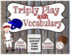 Triple Play Vocabulary- Digital & Printable... by The Digital Daydreamer   Teachers Pay Teachers