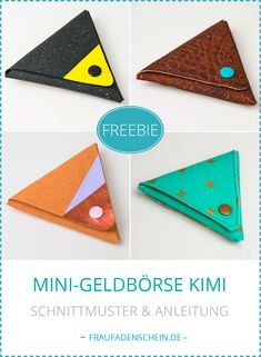 Free Sewing Pattern: Mini purse Kimi (without sewing - Bag Sewing Patterns Free, Free Sewing, Sewing Tutorials, Embroidery Patterns, Hand Sewing, Knitting Patterns, Sewing Projects, Sewing Kit, Felt Phone Cases