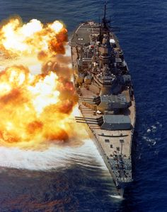 USS IOWA (BB-61) Fires 16-inch guns