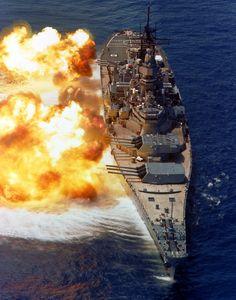 USS IOWA (BB-61) Fires 16-inch guns