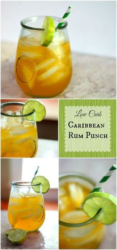 Low carb Caribbean Rum Punch has less than 1 carb -- It's an Atkins friendly cocktail and it's so good! From http://Lowcarb-ology.com
