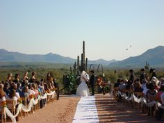 Sonoran Desert wedding in Mesa, Arizona. Look at that backdrop. #beautiful #DestinationWedding #simplewedding #outdoorwedding #wedding