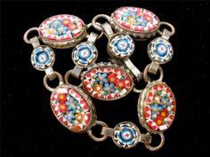 "Vintage Flower Micro Mosaic Bracelet Marked Italy 6"" Long Italian Girls Childs | eBay"