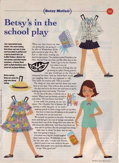 1994 march/ betsy mccall - Betsy's In The School Play Paper Toys, Paper Crafts, Diy Paper, Paper Dolls Printable, School Play, Vintage Paper Dolls, Free Paper, Illustrations, Vintage Cards