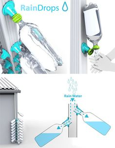 water bottles to collect rain water