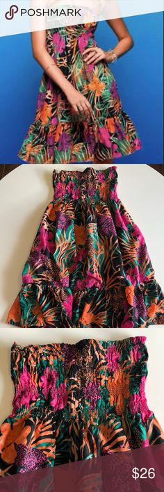 Victoria's Secret Smocked Tropical Beach Dress This great condition Victoria's Secret Smocked Tropical Beach Dress is FULLY LINED! It's cotton and comfortable and is flattering on, throw it over your swimsuit for Spring Break or vacation. Can be worn alone as an easy dress to go out in, again, it's fully lined. Size is medium. Victoria's Secret Dresses Strapless