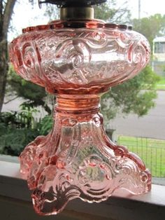 LOVE Pink Depression Glass............... Pink Depression Glassware, Red Depression Glass, Hurricane Lamps, Kerosene Lamp, Antique Glassware, Fenton Glassware, Antique Lamps, Vintage Lamps, Antique Dishes
