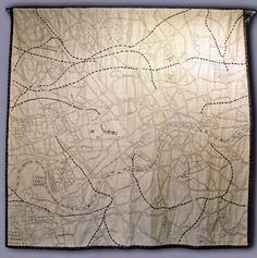 London map quilt, embroidered, by Ekta Kaul (London, UK) Textile Fiber Art, Textile Artists, Map Quilt, Quilts, London Map, London City, Quilted Curtains, Map Projects, Visualisation