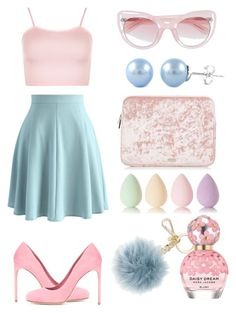 """""""pink and blue"""" by art-gives-me-life ❤ liked on Polyvore featuring WearAll, Chicwish, Erdem, Michael Kors, Marc Jacobs, beautyblender, contestentry and prettypastels"""