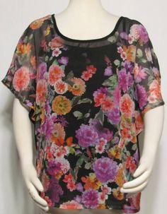 NEW Womens Ladies STYLE & CO Bold Multi Color Floral Silky Top & Black Tank XL #StyleCo #SilkyTopwBlackTank #VERSATILE