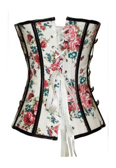 Floral and white with black piping edge corset with gold chain embellishments and antique front claps.   The Violet Vixen - Floral Throwback Thursday White Corset, $54.99 (http://thevioletvixen.com/corsets/floral-throwback-thursday-white-corset/)