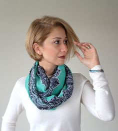 Infinity scarf, chiffon scarf, Lace printed on the mint, gift for her, lace patterned, Mint scarf, gift for wife, Christmas gifts
