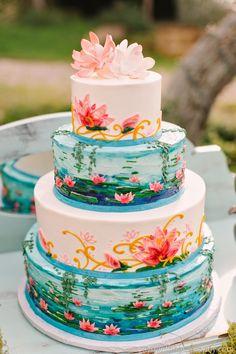 Indian Weddings Inspirations. Amazing Wedding Cake. Repinned by #indianweddingsmag indianweddingsmag.com #monet #waterlilies