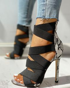 Lace-Up Bandage Patchwork Snakeskin Thin Heeled Sandals - Shoes for moods - Zapatos de Mujer Trend Fashion, Fashion Shoes, Style Fashion, Fashion Outfits, Grunge Outfits, Hijab Fashion, Boho Fashion, Dress Outfits, Womens Fashion