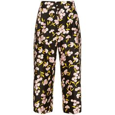 Marni Sistowbell floral-print cotton-blend trousers (7.810 ARS) ❤ liked on Polyvore featuring pants, trousers, black print, floral print wide leg pants, wide leg cropped trousers, wide leg pants, relaxed pants and cropped trousers