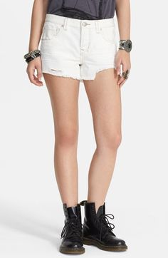$68, White Ripped Denim Shorts: Free People Shark Bite Denim Cutoff Shorts. Sold by Nordstrom. Click for more info: https://lookastic.com/women/shop_items/65629/redirect