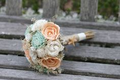 Small Peach Mint and Ivory Sola Bridesmaids Bouquet. Beach inspired…