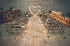 Industrial Warehouse Wedding Space // love the lighting