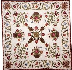 """Love this 9 patch look...simplify the """"x"""" in the center, floral in corners, basket with basket anchor in the 4 blocks...nice """"shape"""" that makes your eyes follow the overall """"shape """" of the 9 patch look / baskets are heavy like the stripes would be ,,,to """"fill in"""" those blocks..."""