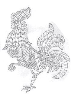 T t cock chicken Crochet Cross, Crochet Motif, Irish Crochet, Crochet Lace, Crochet Patterns, Lace Embroidery, Embroidery Patterns, Chicken Pattern, Romanian Lace