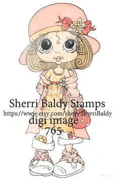 Digitally colored by Sara's Creative Adventures, Sherri Baldy Bestie digital stamp.