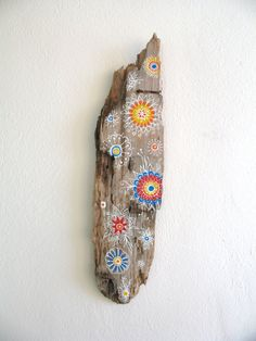 Painted Driftwood Wall Decor, Hand Painted Driftwood Sculpture, Floral Manadal Abstract Pattern, Boho Beach Art, Recycled Eco Art