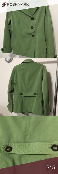 Gorgeous green trench coat Classic Elements spring green, mid-calf length trench. Excellent condition 3 button , 2 pockets and beautifully lined for warmth. It's a cross between a bright sage and a spring green color. Simply beautiful! Classic Elements Jackets & Coats Trench Coats