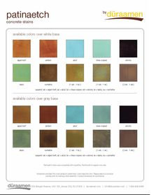 Inspiration - Flooring Duraamen - Concrete floor stain color chart The supplies you will need to get Stained Concrete, Concrete Floors, Floor Stain Colors, Make Your Own Beer, Epoxy Floor, Blue And Copper, Home Brewing, Go Shopping, Chart