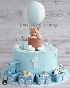 Best 12 Baby Shower by Lori Mahoney (Lori's Custom Cakes) – SkillOfKing. Cake 1 Year Boy, 1 Year Old Birthday Cake, Baby First Birthday Cake, Cute Birthday Cakes, Baby Boy Cakes, Girl Cakes, Pasta, Food, Daisy Cakes