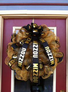 Mizzou (University of Missouri) Tigers Black and Gold Poly Deco Mesh Large 26-inch Door Decor Wreath with Licensed Collegiate Team Ribbon