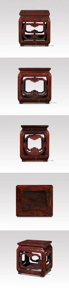 Classical Square Stools with RuYi stripe Living Room Luxury Furniture Bench with Turtle feet Burmase Rosewood Children's chair