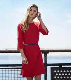 The Nautica Fall 2017 Women's Collection featuring The Flounce Sleeve Dress. With a lightweight, feminine look, this dress has the perfect amount of coverage for the office while a fun flounce at the sleeves and hem take it all the way to date night.