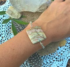 Crazy Lace Agate Bohemian Style Chain Sterling Silver Bracelet, Adjustable, OOAK by SaracenProvisions on Etsy