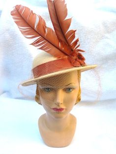 1930's Vintage Straw Hat with Rust Color by MyVintageHatShop, $75.00