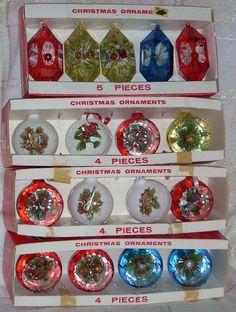 4 Boxes Vintage Jewelbrite Jewel Brite Plastic Reflector Christmas Ornaments. $45