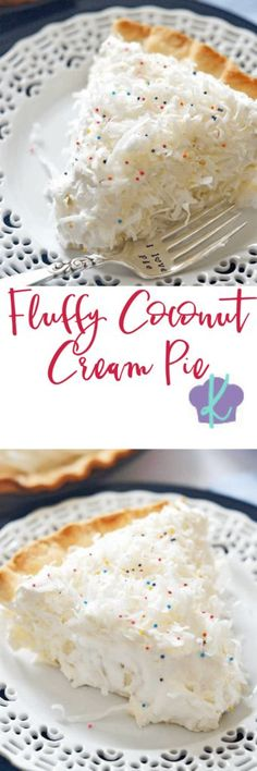 This Fluffy Coconut Cream Pie is simply divine! The custard filling is rich and smooth, and using coconut milk and coconut extract gives it an extra creamy burst of coconut flavor. Topped with homemade whipped cream, this pie is a must make any time of Coconut Desserts, Coconut Recipes, Homemade Desserts, Just Desserts, Delicious Desserts, Homemade Pie, Vegan Desserts, Coconut Cream, Coconut Milk