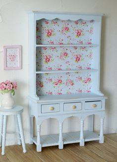 Beautiful Pastel Blue Shabby Chic 1:12 Scale Rose Dresser/Hutch For your Dollhouse
