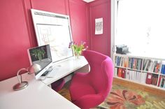 magenta! walls and matching chair with white furniture. Katie's Colorful Live/Work Space in Brooklyn