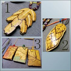 Carved Leaf Pendants made form Gourds! For sale on Etsy.