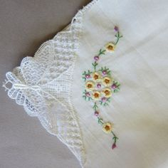 Lot of Three Vintage Handkerchiefs White With by OttoandGertie