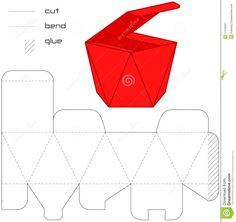 Template Present Box Red Cut Square Royalty Free Stock Photography - Image: 11540567 Cardboard Box Crafts, Cardboard Jewelry Boxes, Paper Box Template, Paper Engineering, Photography Templates, Paper Crafts Origami, Diy Gift Box, Paper Folding, Paper Models