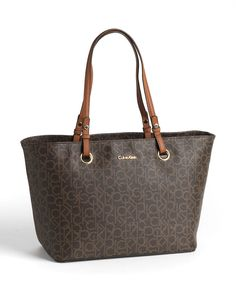 Calvin Klein Monogram Leather Tote Bag brown/khaki/luggage