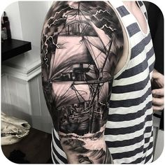 Well, first of all boat tattoo designs can be funny and beautiful. If you look at our collection, in fact, you will find a combination of complicated Mens Side Tattoos, Back Tattoos For Guys, Full Back Tattoos, Full Sleeve Tattoos, Tattoos Bein, Forarm Tattoos, Life Tattoos, Ship Tattoos, Navy Tattoos